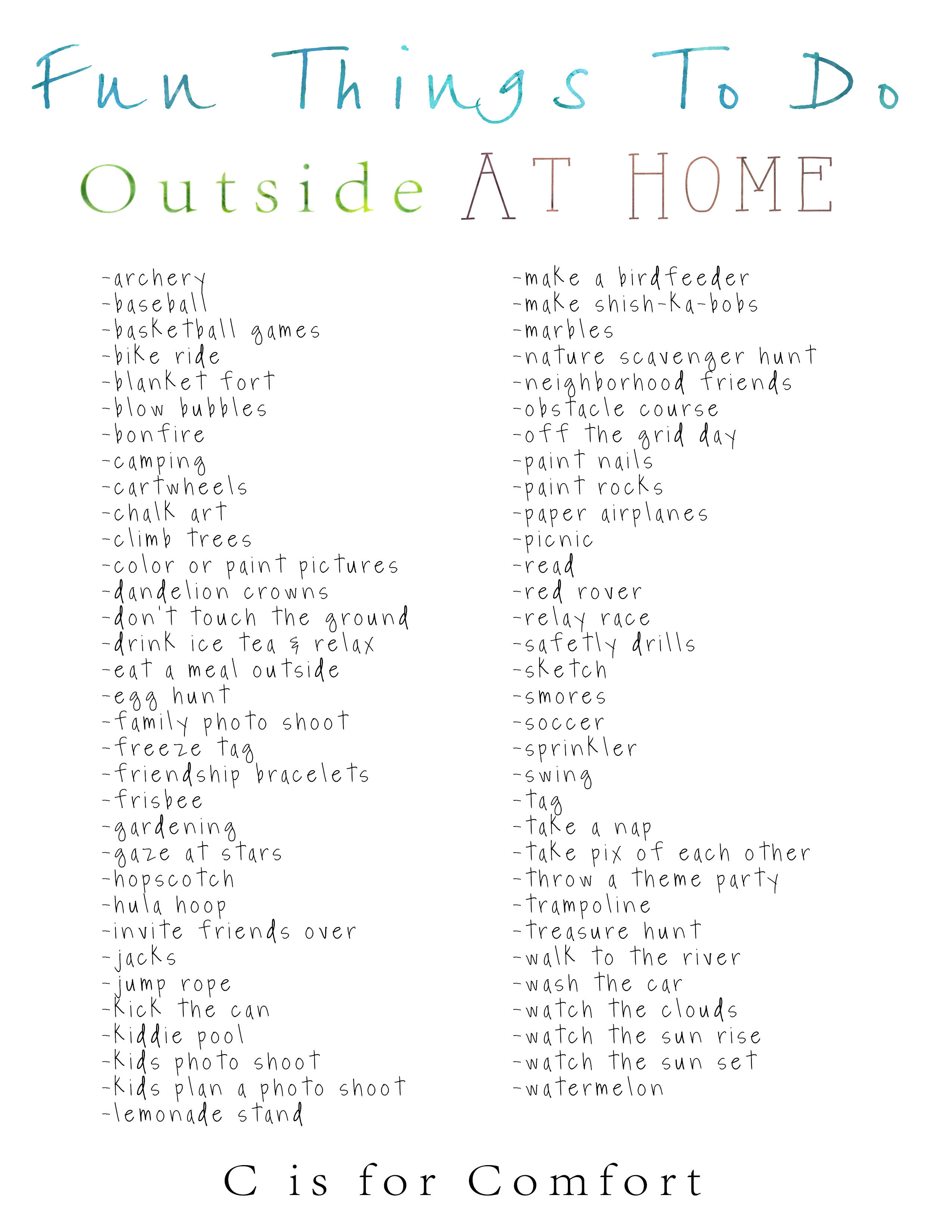 Fun Things To Do Outside At Home List 1